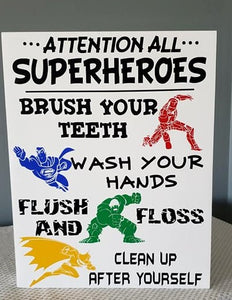Attention all Superheroes, Superhero Bathroom Decor, Superhero Bathroom sign
