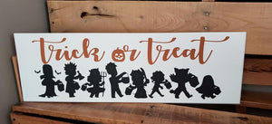Trick or Treat, Halloween decor, hand painted wood sign