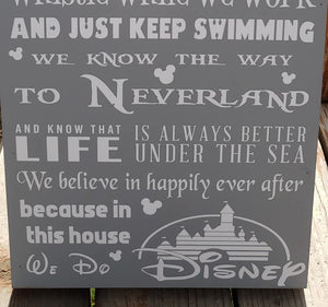In This House, We Do Disney, Disney Home Decor, Disney Sign