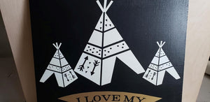 I love my tribe, wood sign, family photo gallery, hand painted