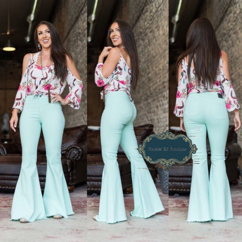 Extreme Flare Mint Jeans