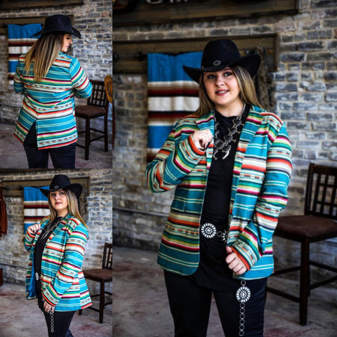 Teal Serape Buffalo Nickle Blazer