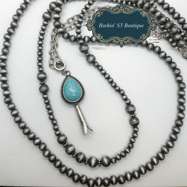 Squash Blossom Pendant with Double strand Faux Navajo Pearls