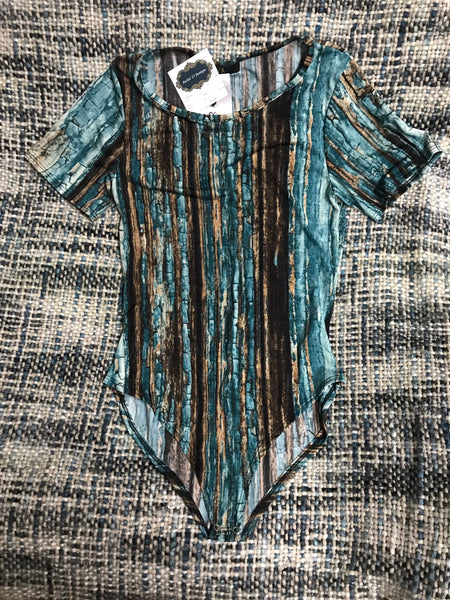 Turquoise Wood Grain Body Suit