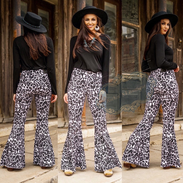 Snow Leopard Flare Jeans