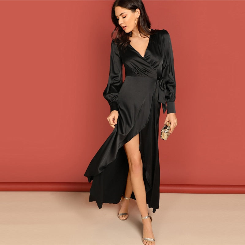 a8ef8ae506 Black Deep V Neck Knot Side Surplice Wrap Split High Waist Dress Women ...