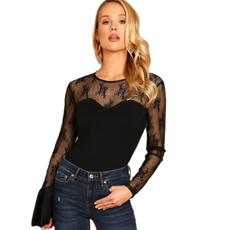 5dc2fa5012 Black Contrast Lace Slim Fitted Tee Party Long Sleeve Round Neck T-shirt  2019 ...