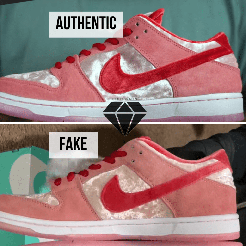 How to spot Fake Strangelove Skateboards x Nike SB Dunk Low: The Inner Swoosh Method