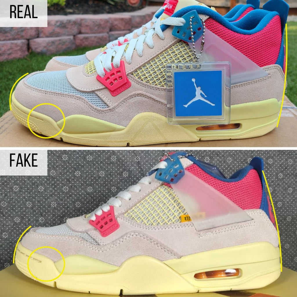 Jordan 4 Retro Union Guava Ice Real VS Fake Guide: The Overall Shape Method
