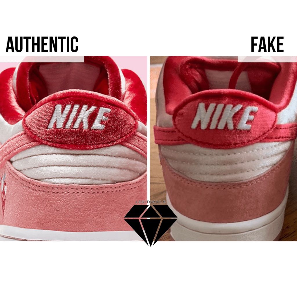 How to spot Fake Strangelove Skateboards x Nike SB Dunk Low: The Heel Stitching Method