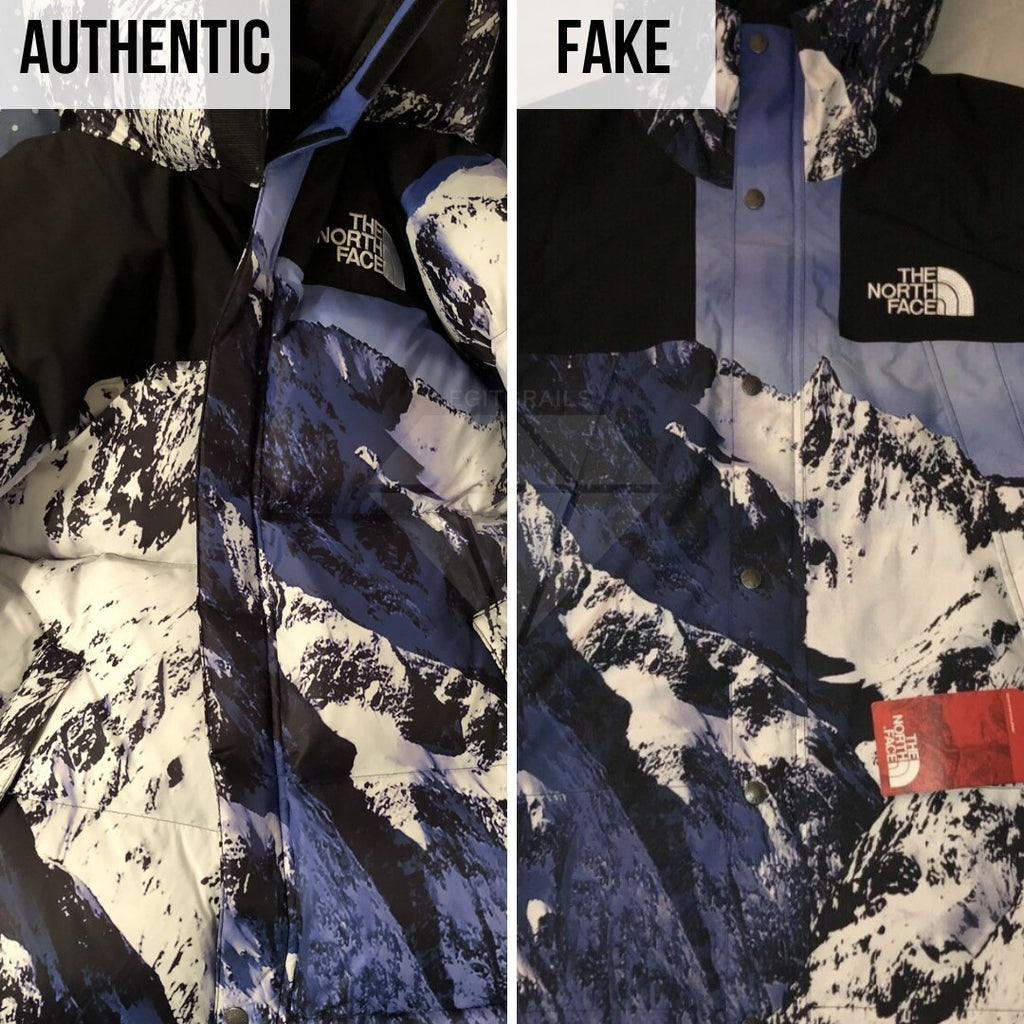 Supreme The North Face Mountain Baltoro Jacket Fake VS Real Guide: The Front Print Method