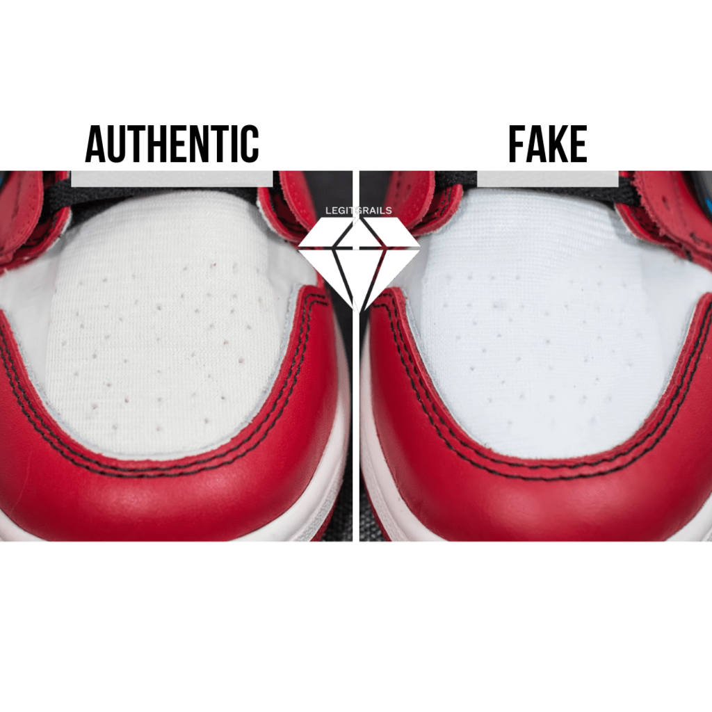 How to Spot Fake Off White Jordan 1 Chicago: The Toe Box From Above