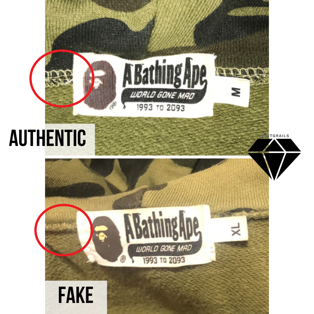 How to spot a fake Bape Shark hoodie | Bape Neck Tag Real vs Fake