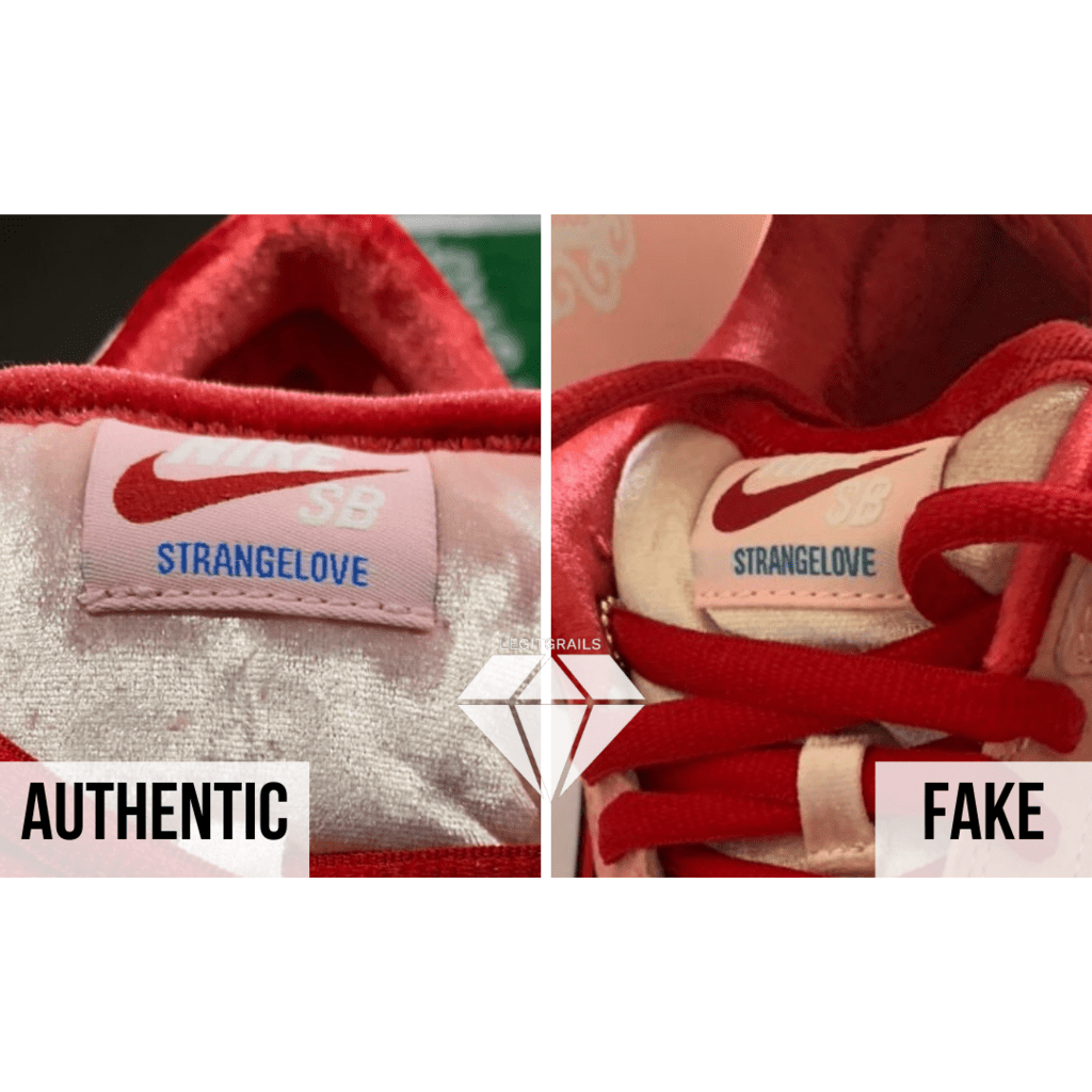 How to spot Fake Strangelove Skateboards x Nike SB Dunk Low: The Tongue Label Method
