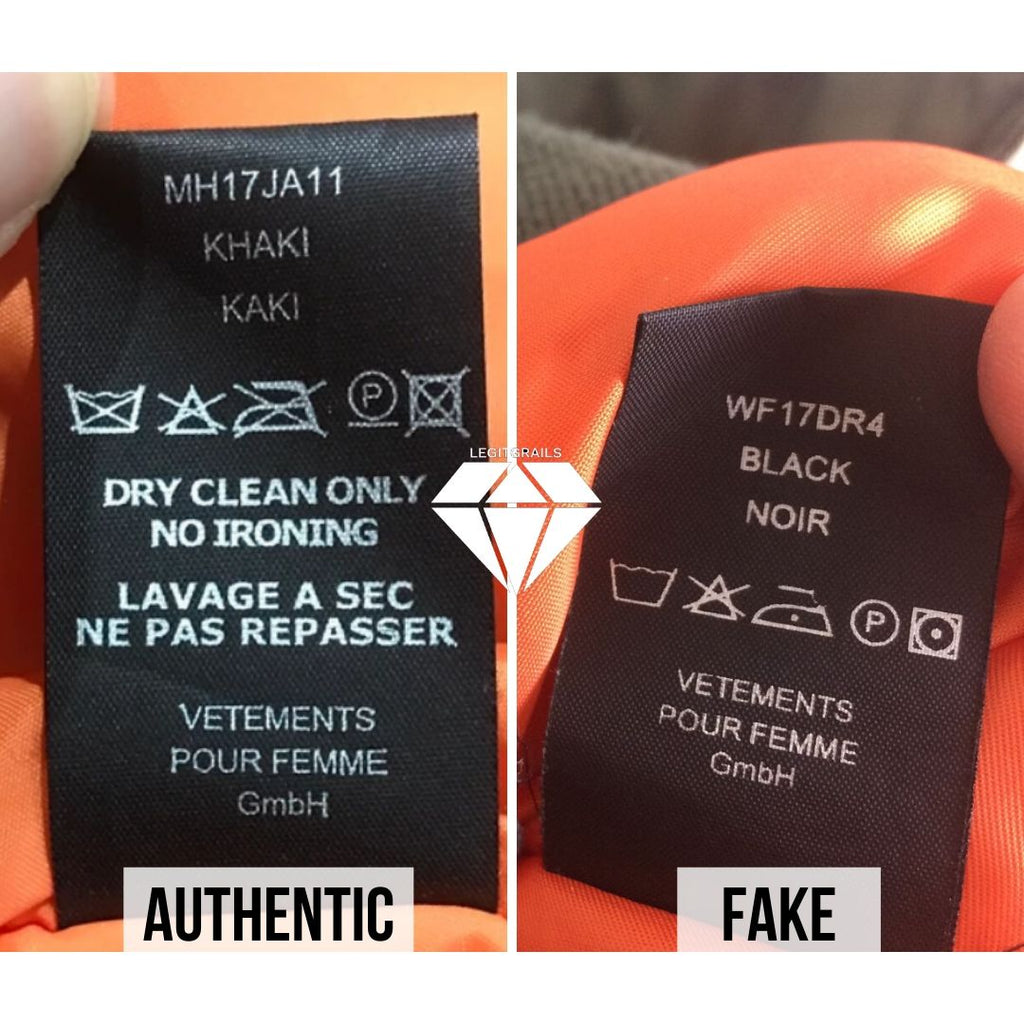 How to spot fake Vetements Bomber by the Backside Wash Tag Method