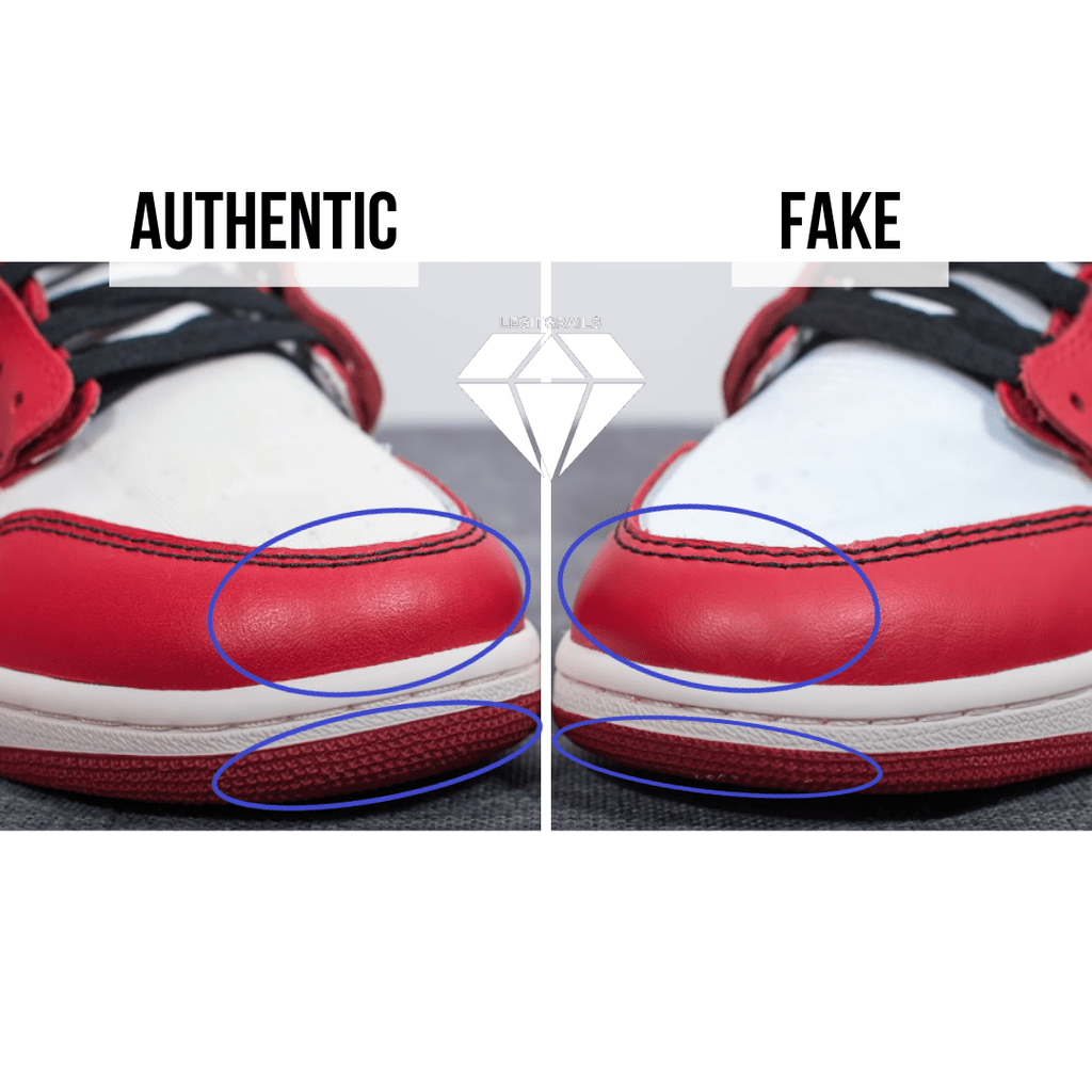 How to Spot Fake Off White Jordan 1 Chicago: The Front Toe Method