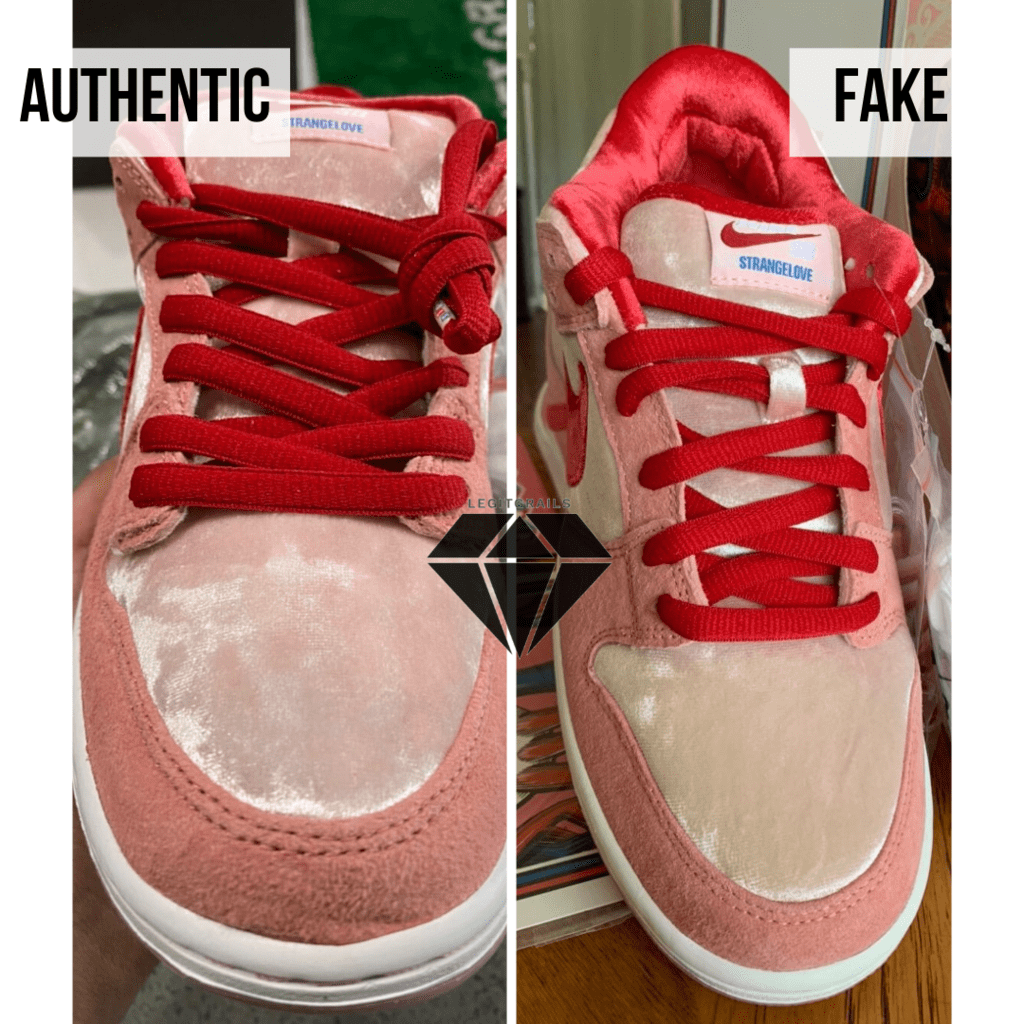 How to spot Fake Strangelove Skateboards x Nike SB Dunk Low: The laces area method