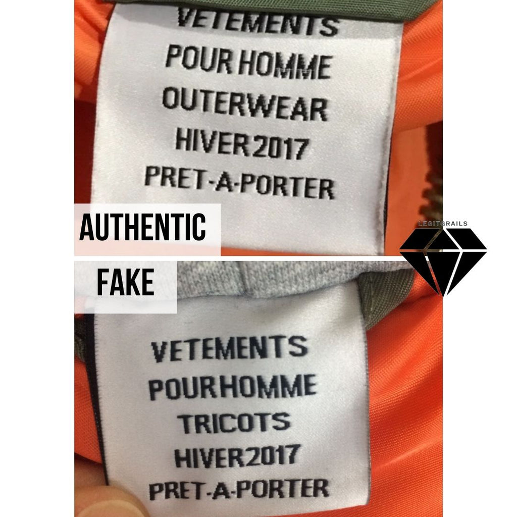 How to spot fake Vetements Bomber by the Front Neck Tag Method