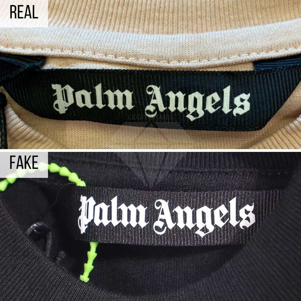 Palm Angels Kill The Bear T-Shirt Real VS Fake Guide: The Neck Tag Method