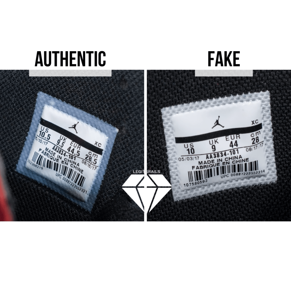How to Spot Fake Off White Jordan 1 Chicago: The Size Tag Method