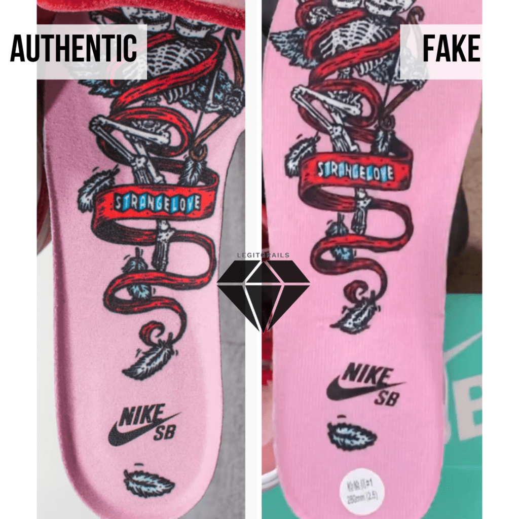 How to spot Fake Strangelove Skateboards x Nike SB Dunk Low: The Insole Method