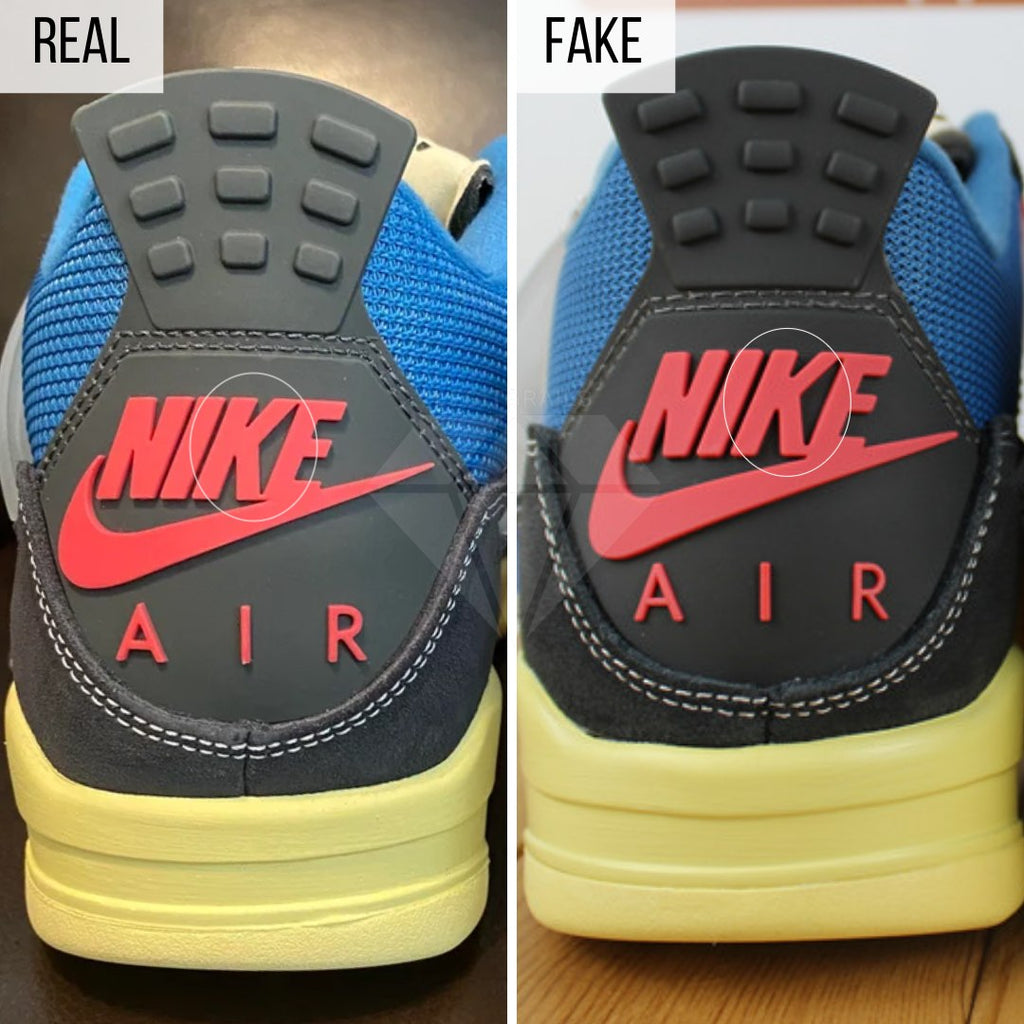 Jordan 4 Union Off Noir Fake VS Real Guide: The Heel Method
