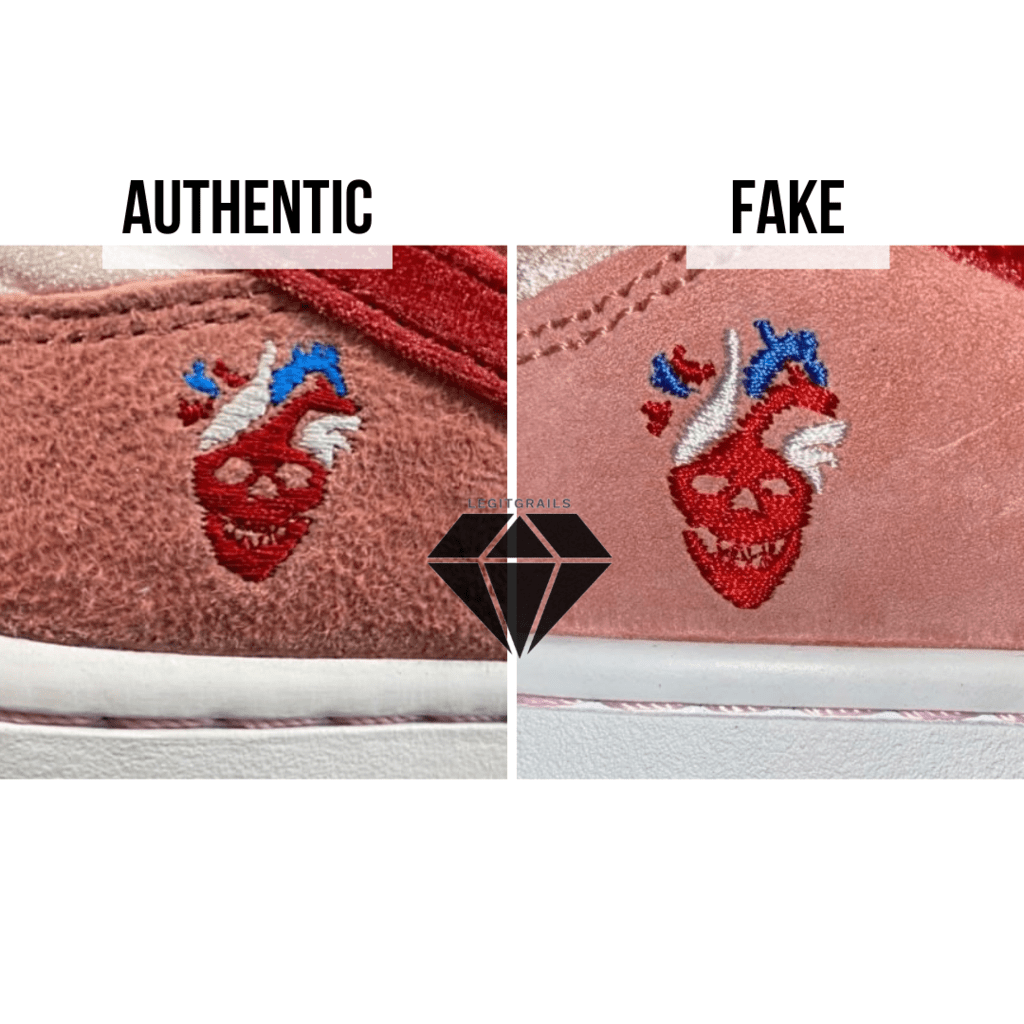 How to spot Fake Strangelove Skateboards x Nike SB Dunk Low: The StrangeLove Logo Stitching Method