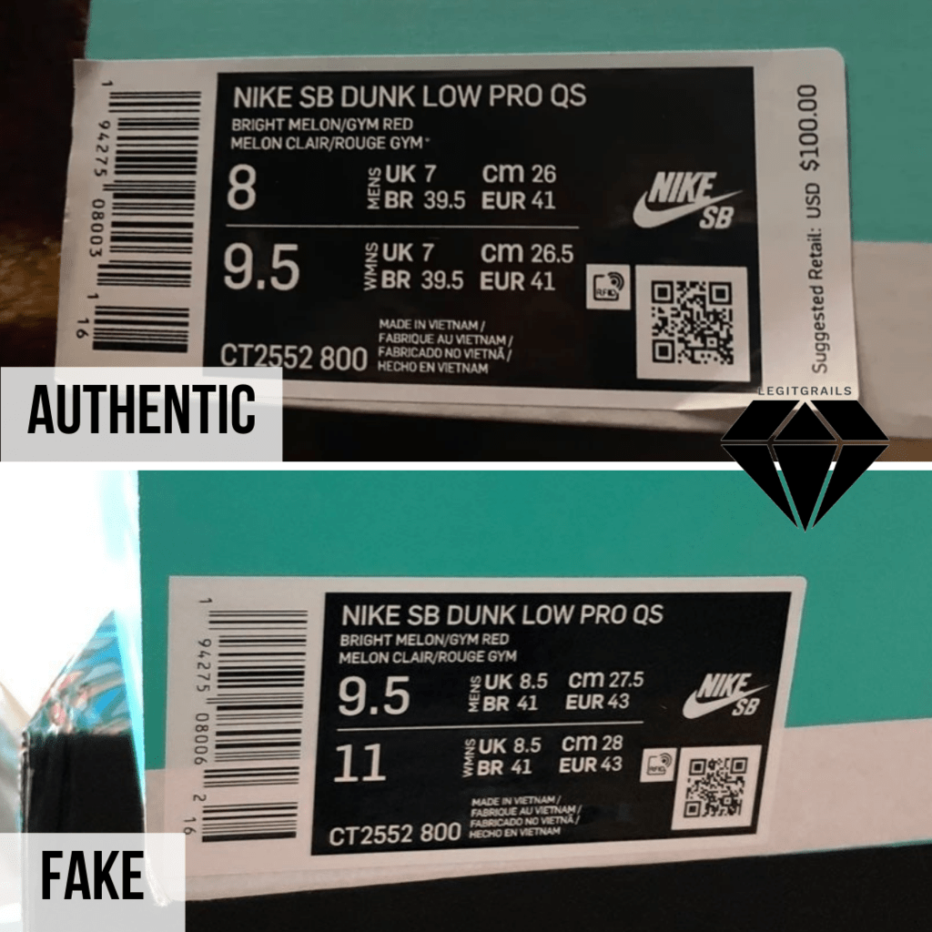 How to spot Fake Strangelove Skateboards x Nike SB Dunk Low: The Box Label Method