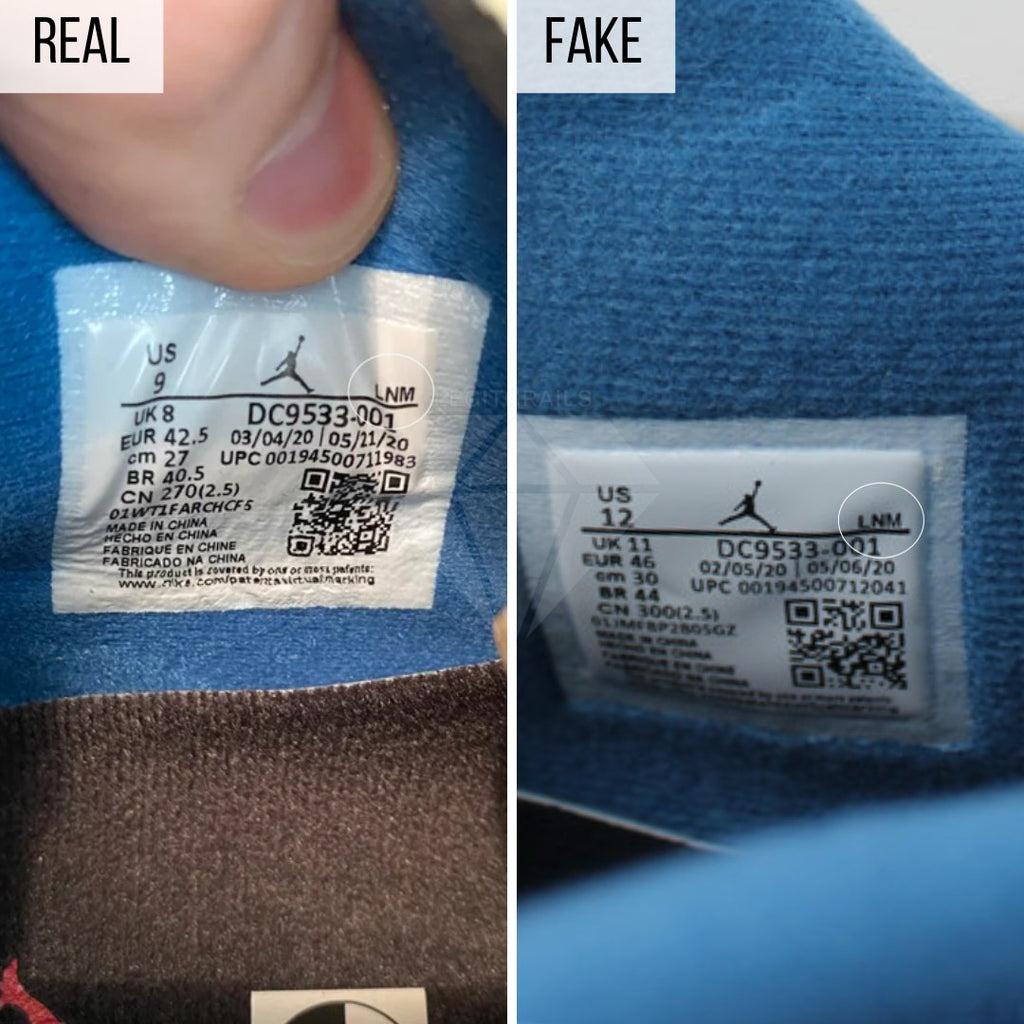 Jordan 4 Union Off Noir Fake VS Real Guide: The Size Tag Method