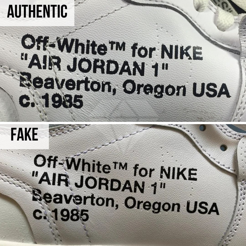Jordan 1 Off White NRG Fake vs Real Guide: The Medial Print Method