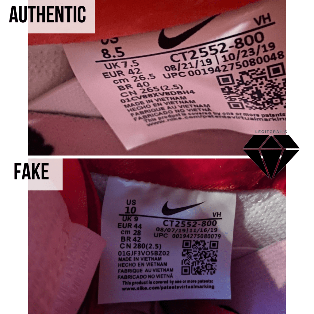 How to spot Fake Strangelove Skateboards x Nike SB Dunk Low: The Size Tag Method