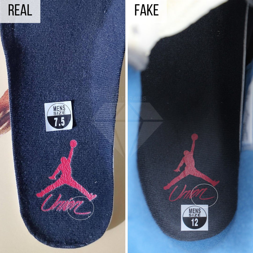 Jordan 4 Union Off Noir Fake VS Real Guide: The Insole Method