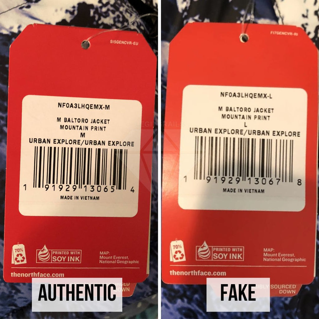 Supreme The North Face Mountain Baltoro Jacket Fake VS Real Guide: The Product Tag Method