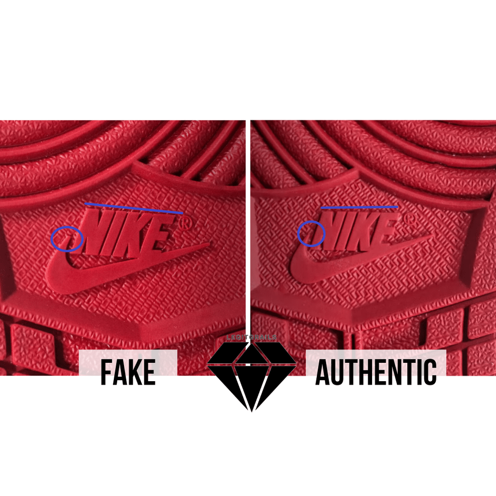 How to Spot Fake Off White Jordan 1 Chicago: The Outsole Nike Logo Method