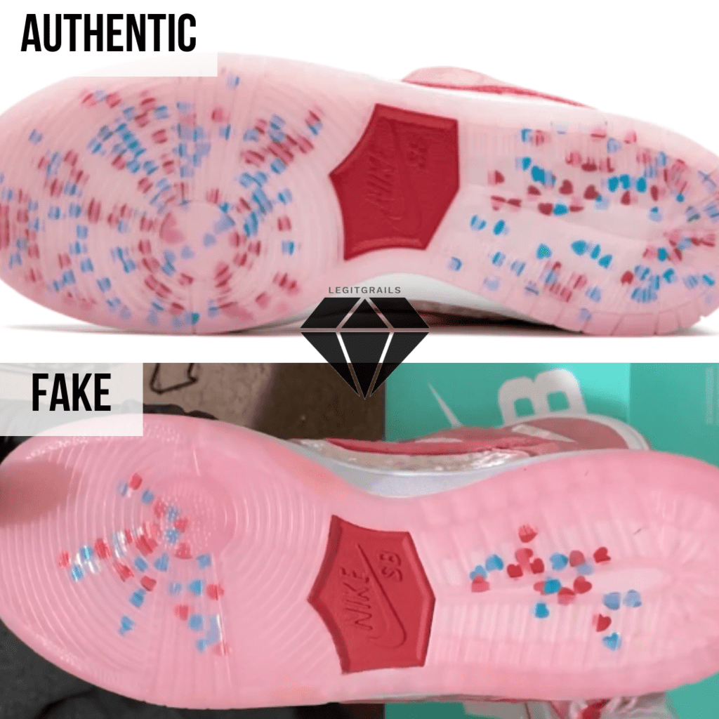 How to spot Fake Strangelove Skateboards x Nike SB Dunk Low: The Outsole Method