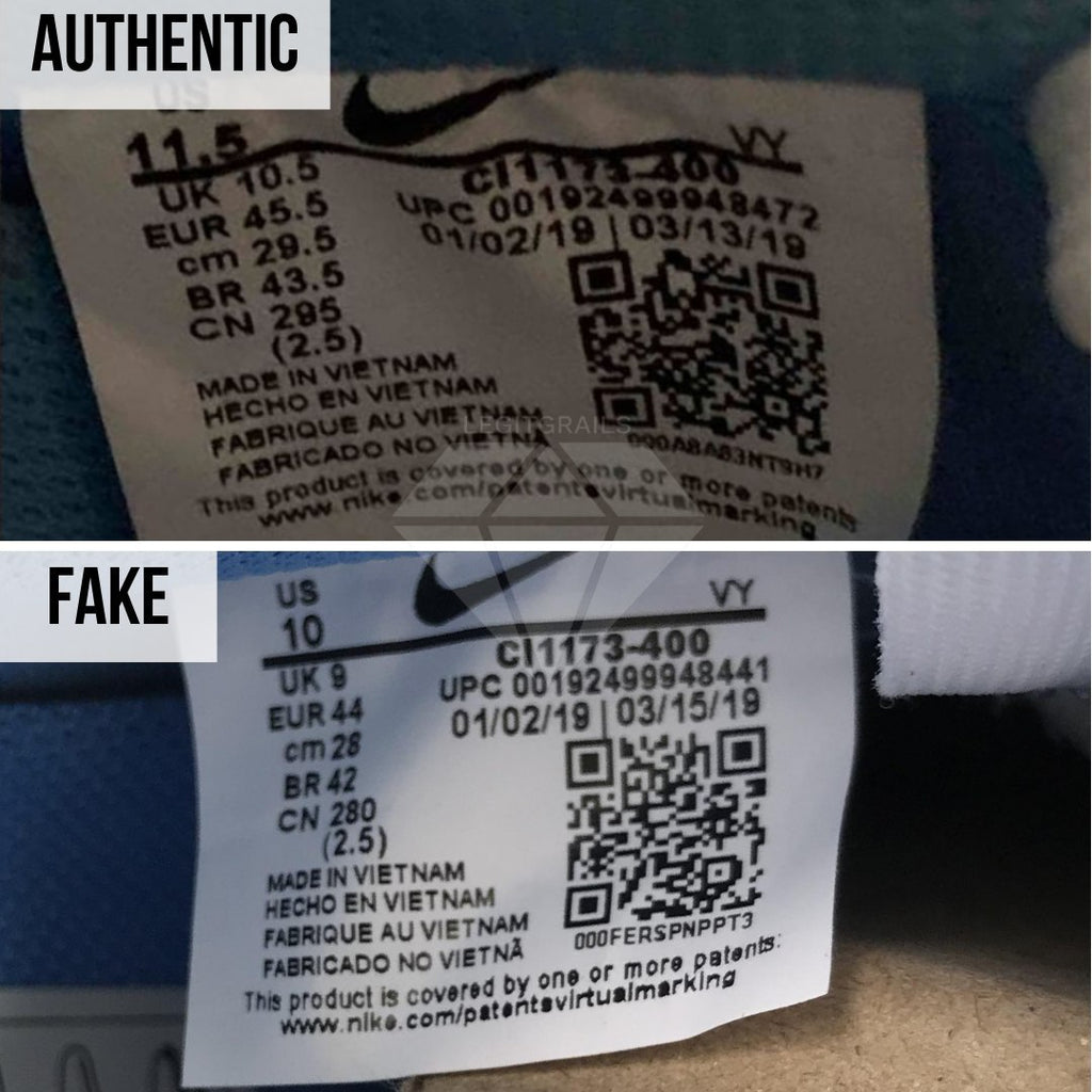 Nike Air Force 1 Off-White MCA Real VS Fake Guide: The Size Tag Method