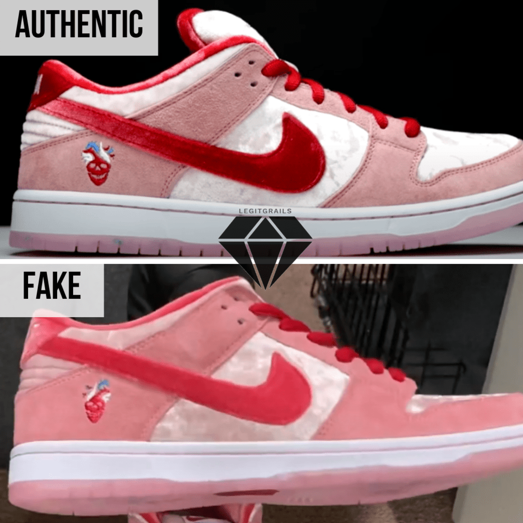 How to spot Fake Strangelove Skateboards x Nike SB Dunk Low: The outer swoosh method