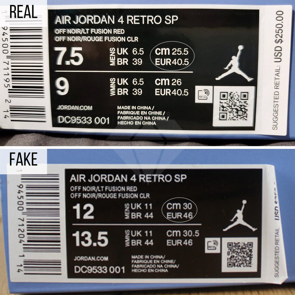 Jordan 4 Union Off Noir Fake VS Real Guide: The Shoe Box Method