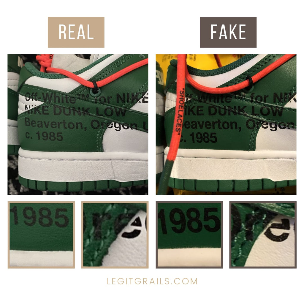 Fake vs Real Nike Dunk Off White Pine Green