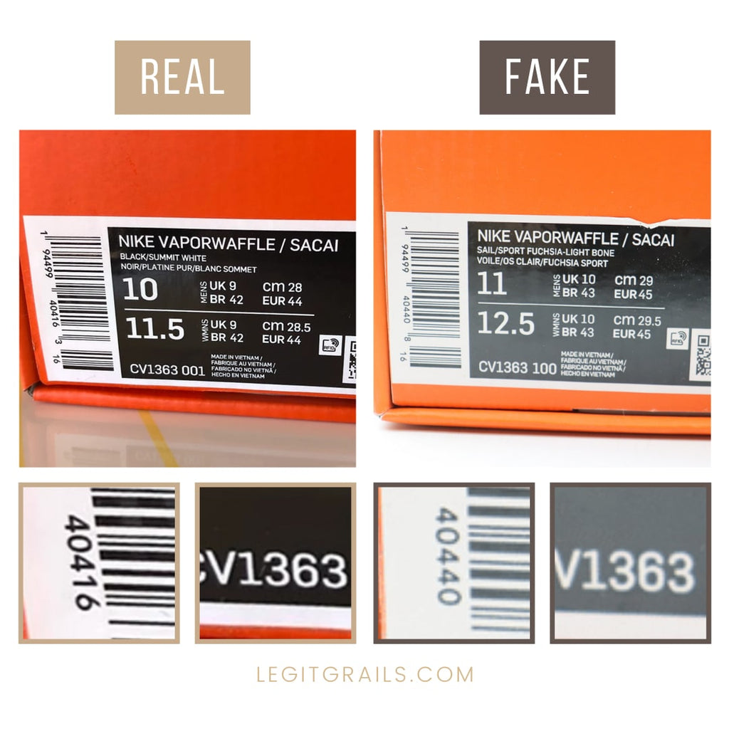 Fake vs Real Nike Sacai VaporWaffle