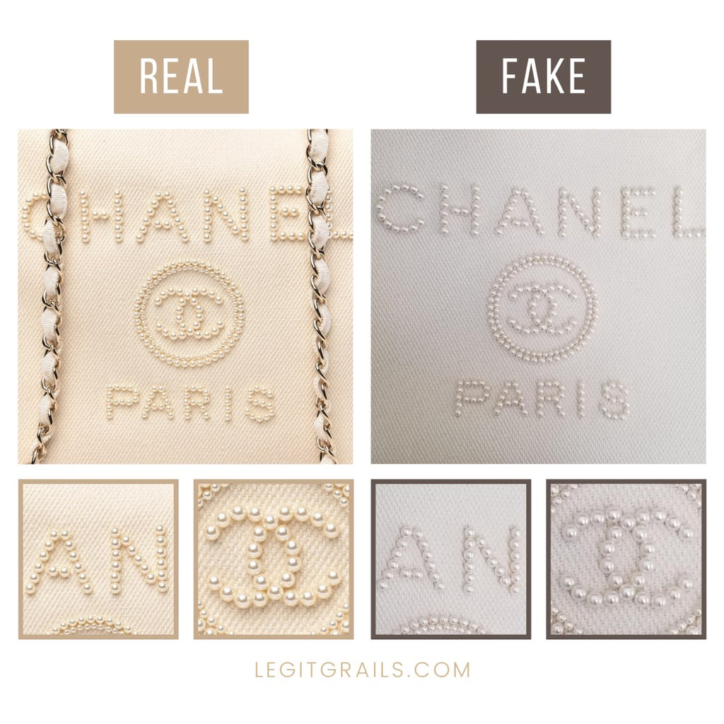 Real Vs Fake Chanel Deauville Pearl Tote Bag