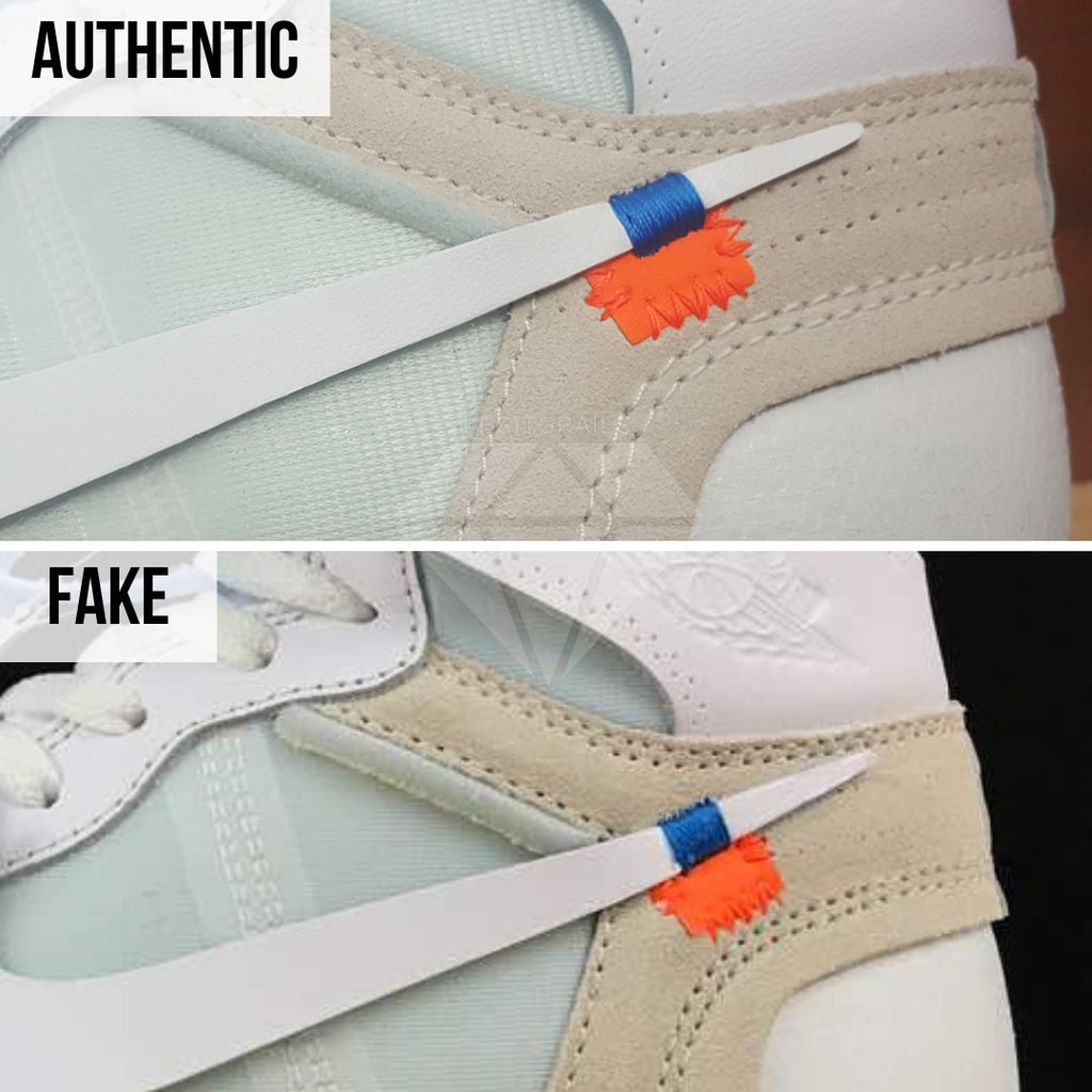 Jordan 1 Off White NRG Fake vs Real Guide: The Nike Swoosh Method