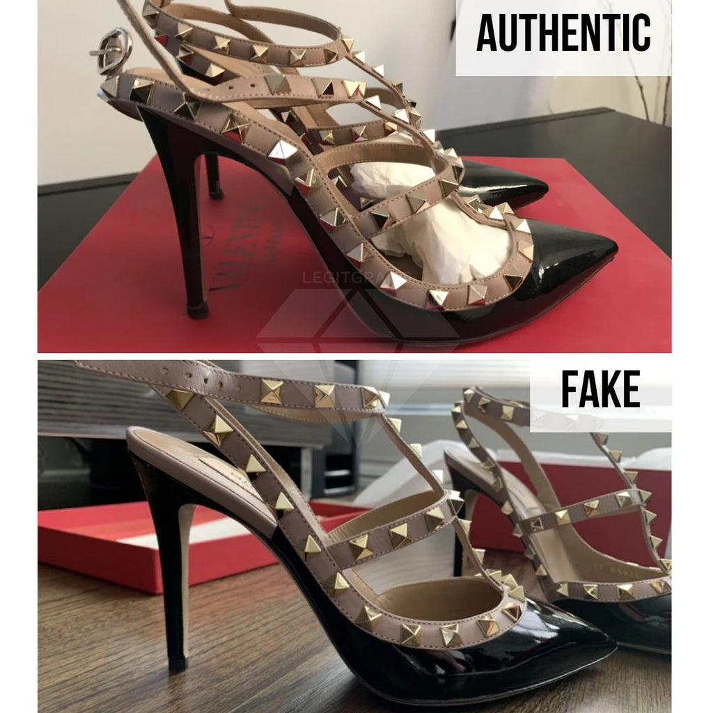 Valentino Rockstud Pumps Fake VS Real Guide: The Sides Method