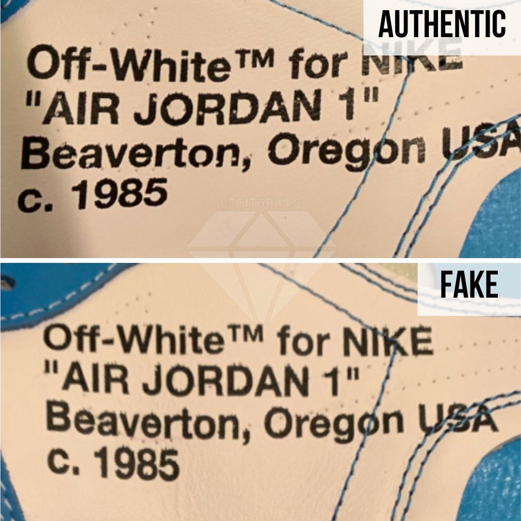 Jordan 1 Off White UNC Fake vs Real Guide: The Text Method