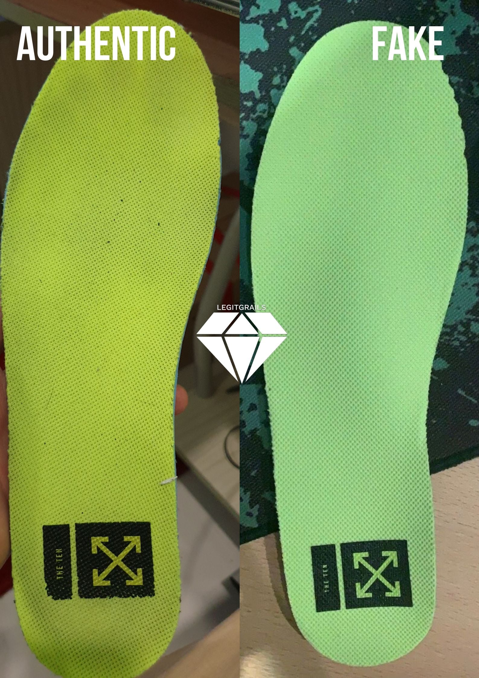 Air Force 1 Off White Volt Insole Fake vs Real | Off White Legit Check