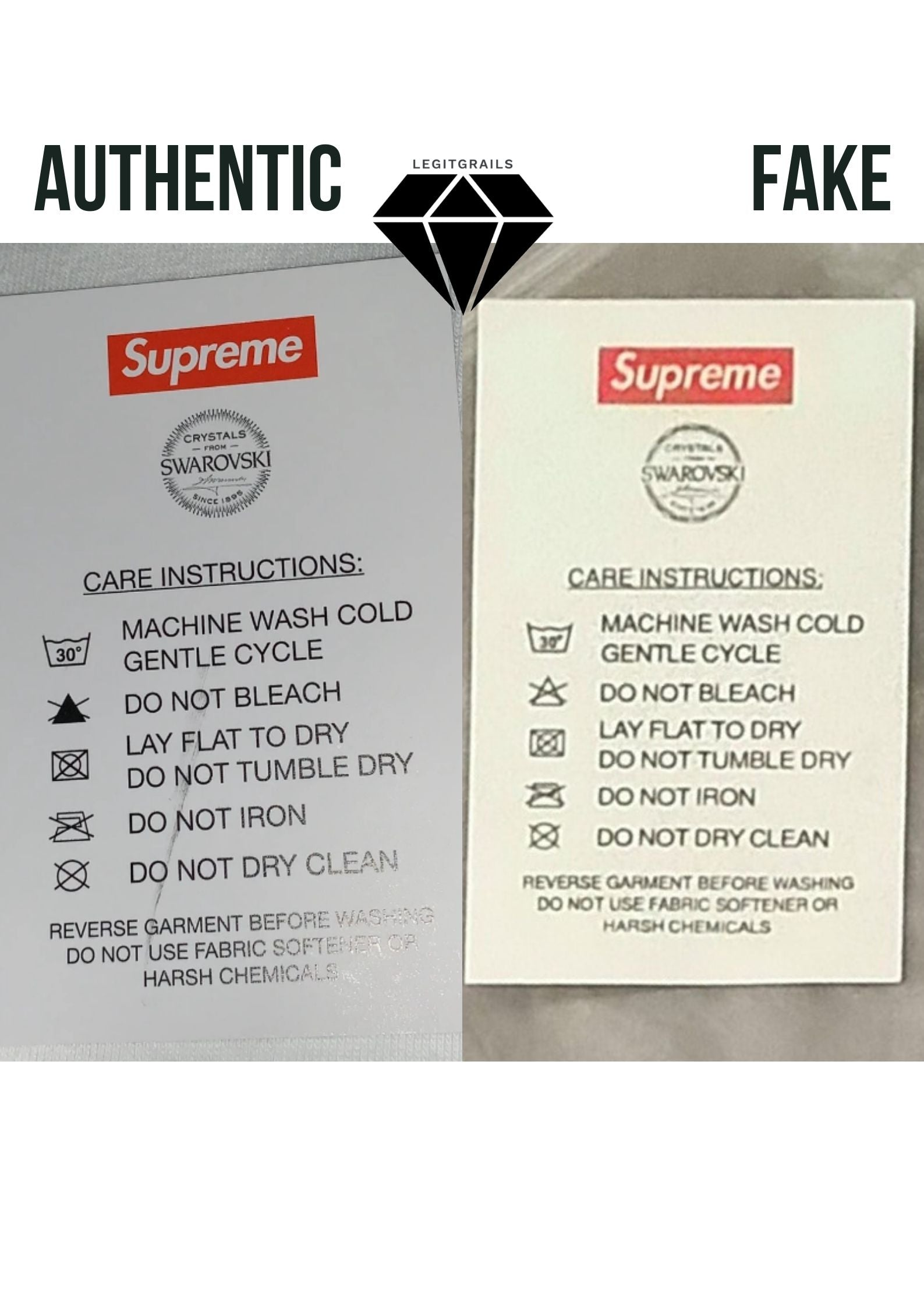 Supreme Swarovski Care Instructions T Shirt Real vs Fake | Supreme Legit Check