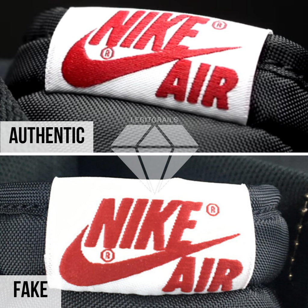 "How to spot fake Nike Air Jordan 1 ""Fearless"": Nike Air Logo Method"