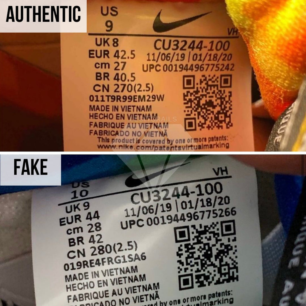 How to legit check Nike SB Dunk Low Ben & Jerry's Chunky Dunky: The Size Tag Method