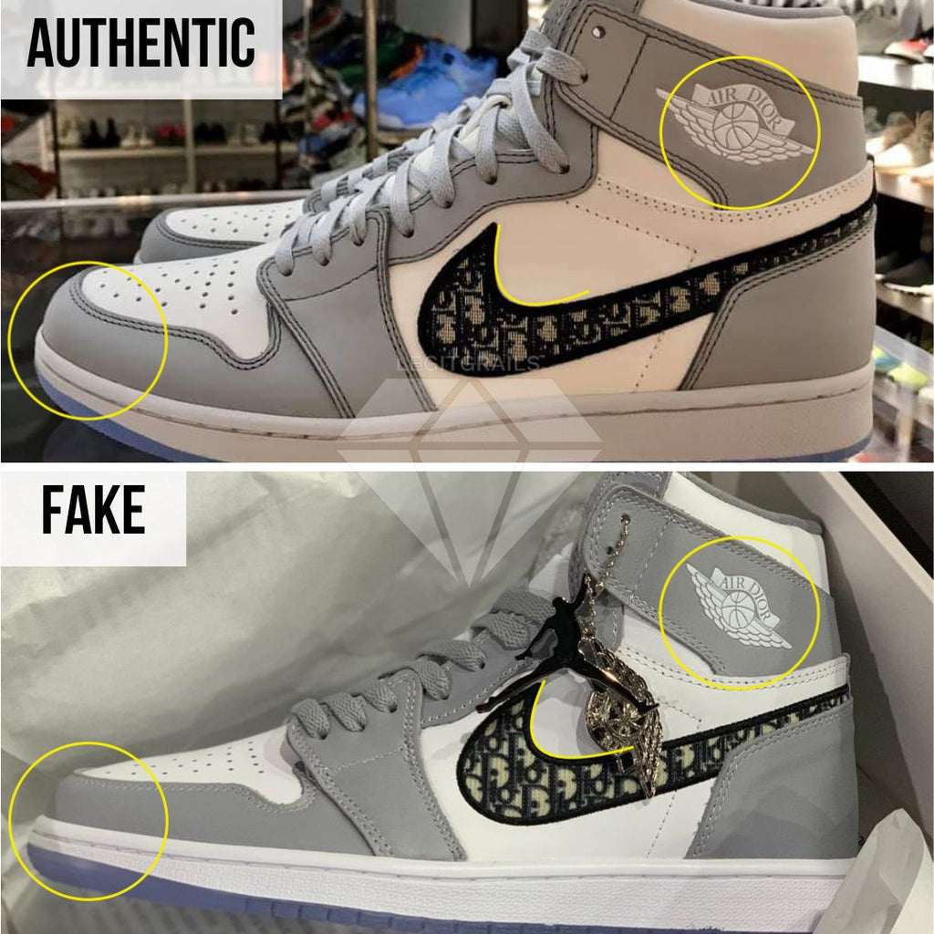 How to spot fake Dior Jordan 1 High: The Left Outer Swoosh Method