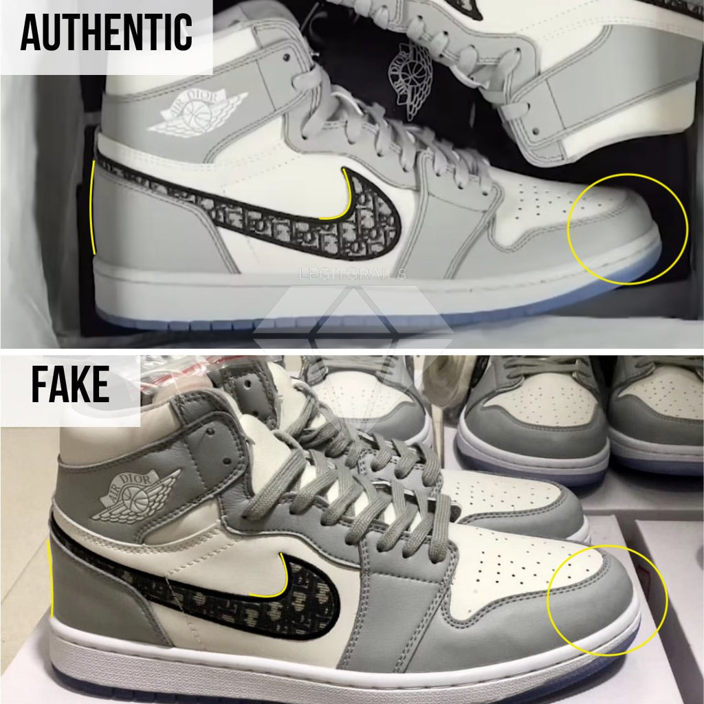 How to spot fake Dior Jordan 1 High: The Right Outer Swoosh Method
